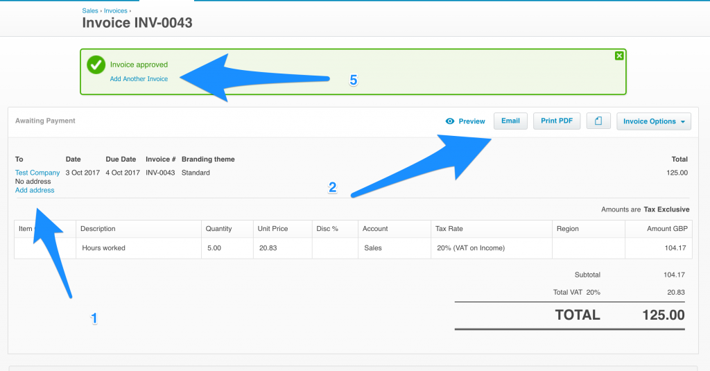 Raise an Invoice in Xero