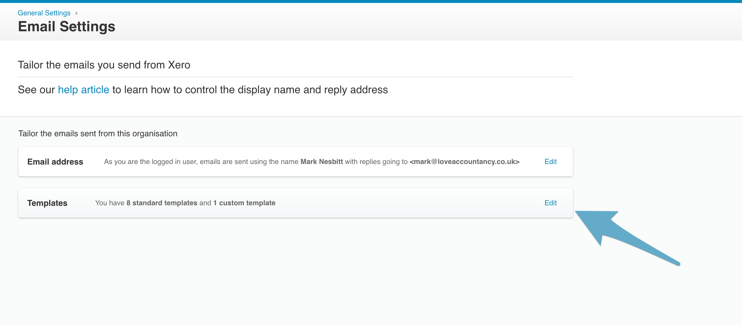 how to change email template wording in xero love accountancy limited